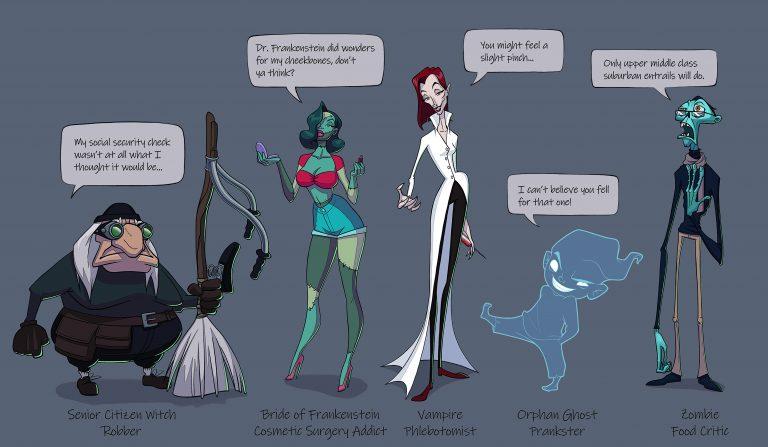 Halloween Character Lineup: character design challenge